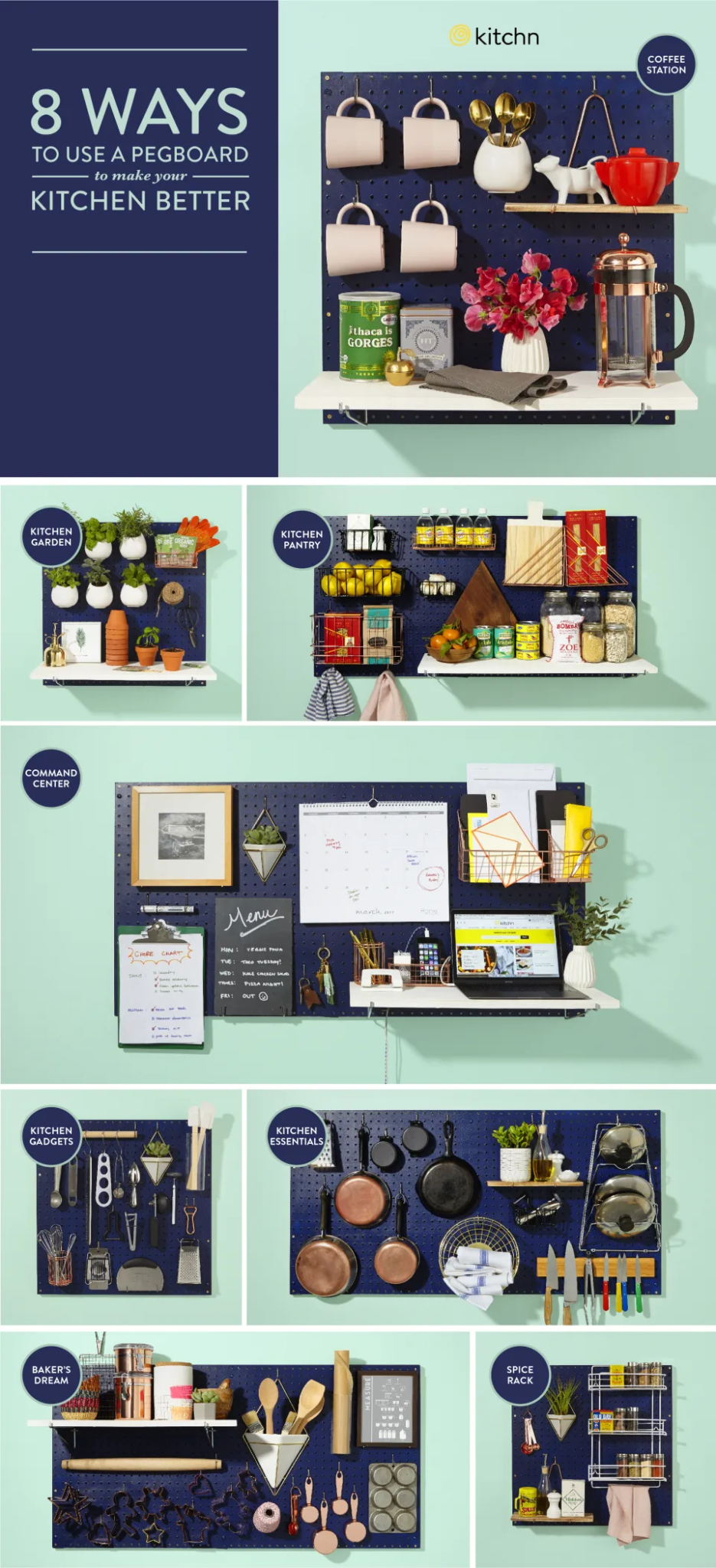 Ways to style a kitchen pegboard
