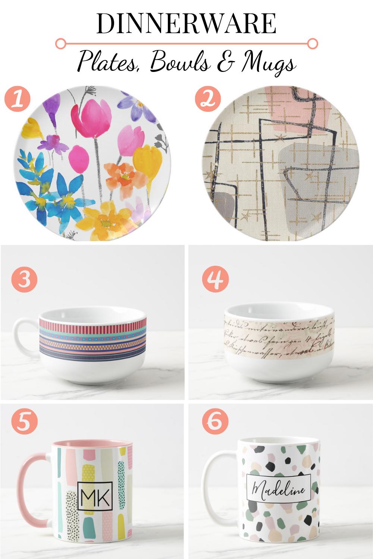 print on demand plates bowls and coffee mugs