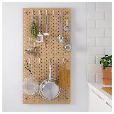 ikea wooden kitchen pegboard combination