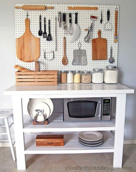 Kitchen pegboard ideas with table