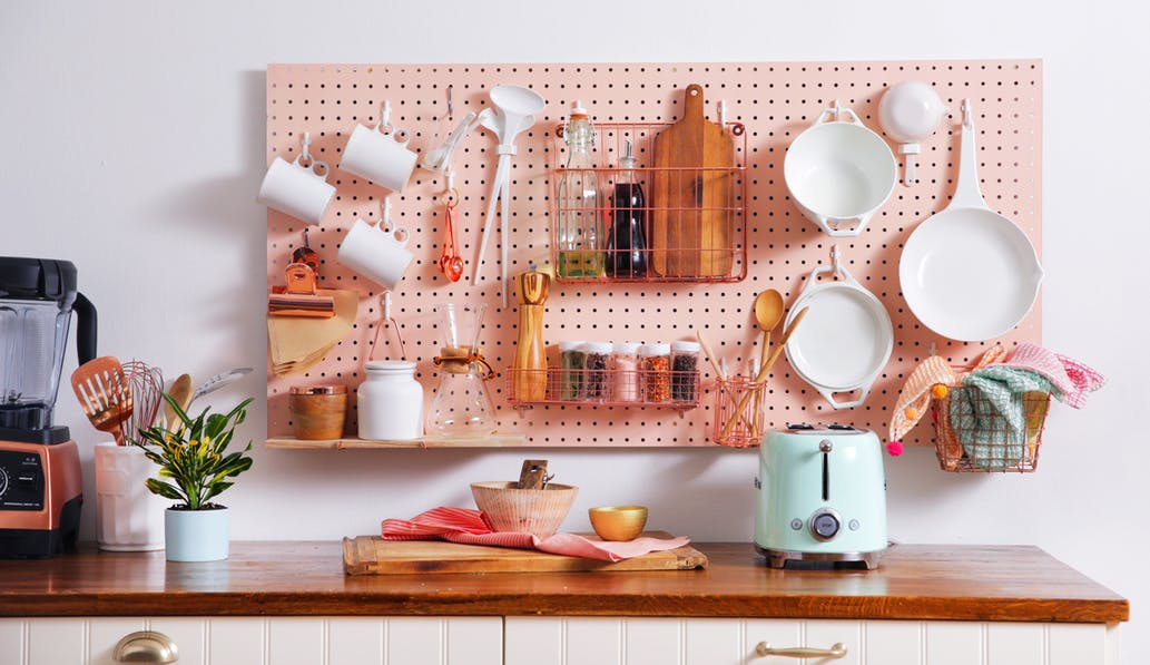 pink kitchen pegboard