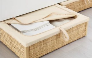 rattan under-bed storage for small bedrooms