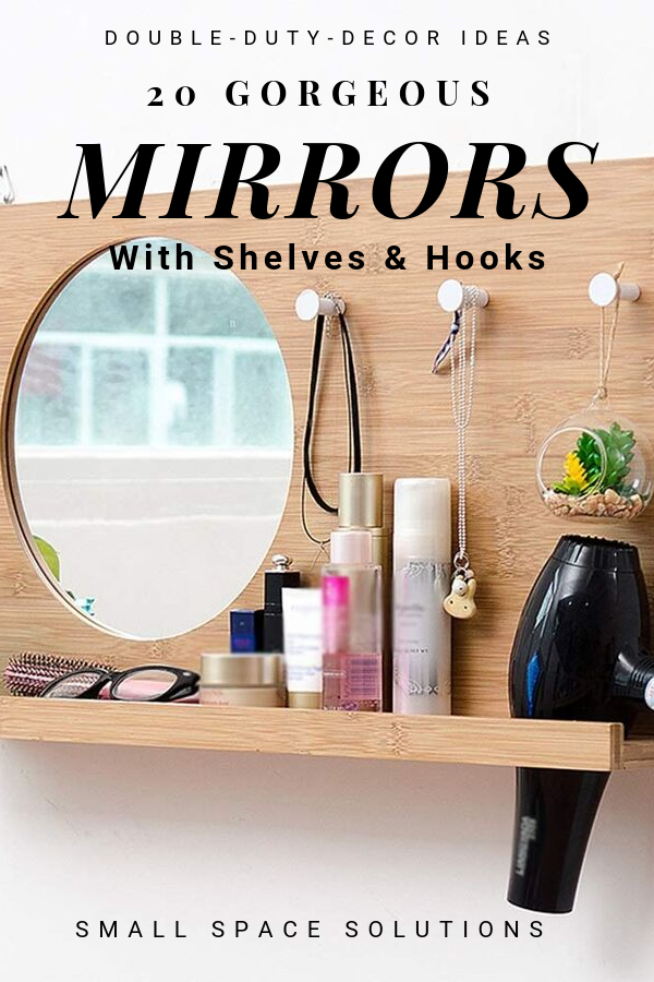 Stunning mirrors with shelves and hooks