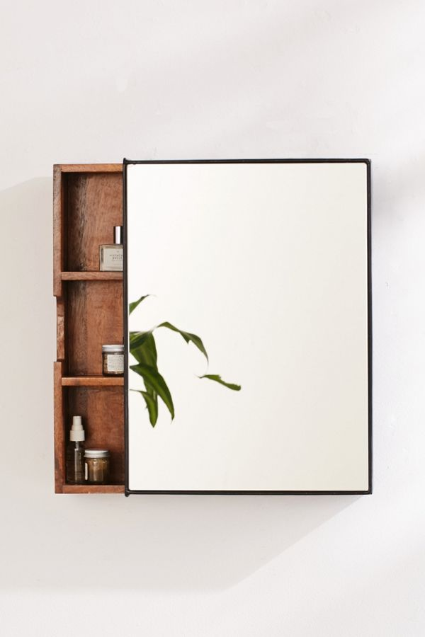 Sliding mirror with shelf for bathroom