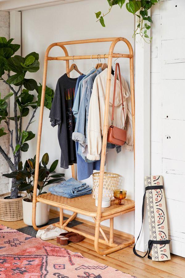 rattan clothing rack