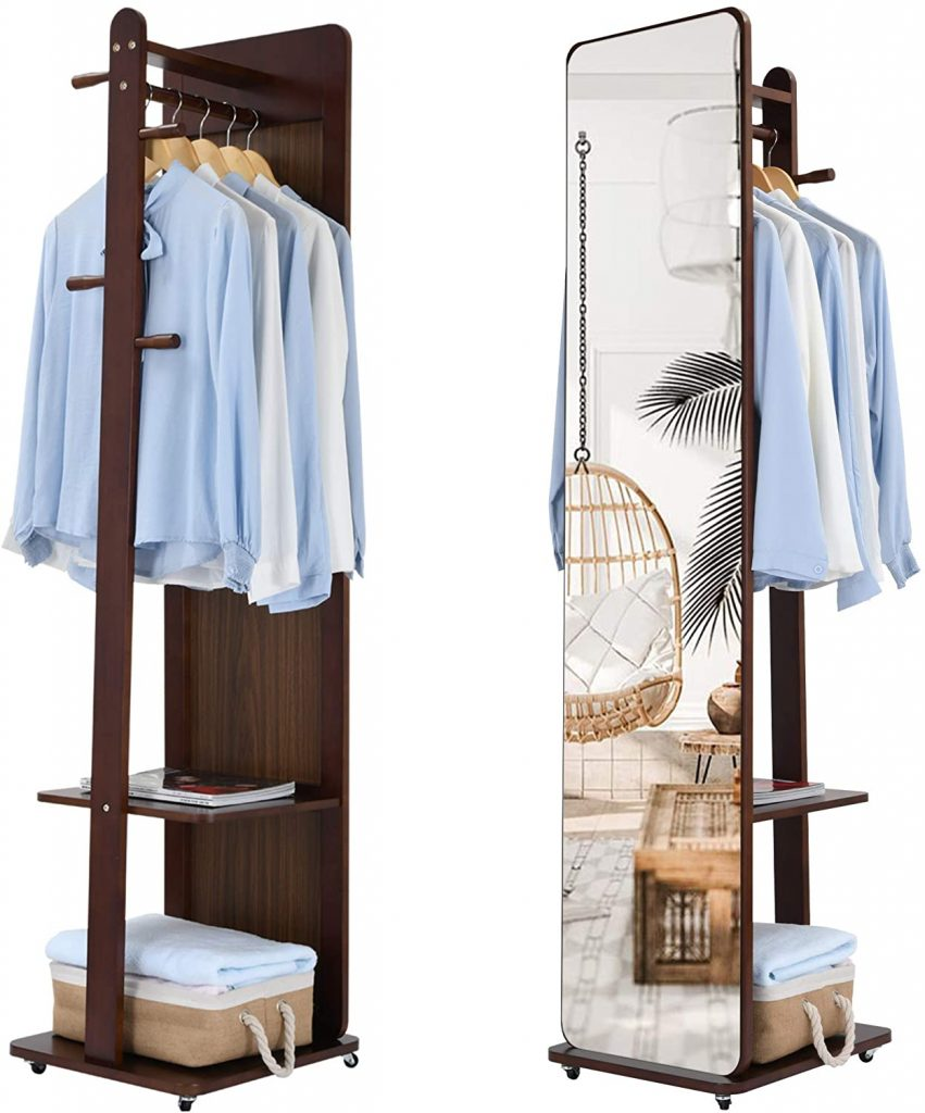 Full Length standing  Mirror with Coat Rack and shelf