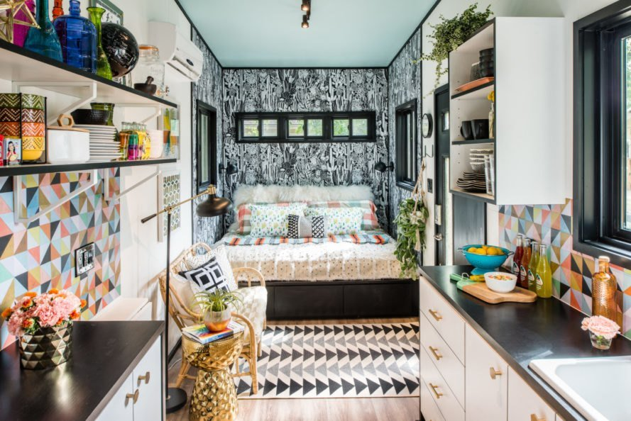 Maximalist design in tiny home bedroom