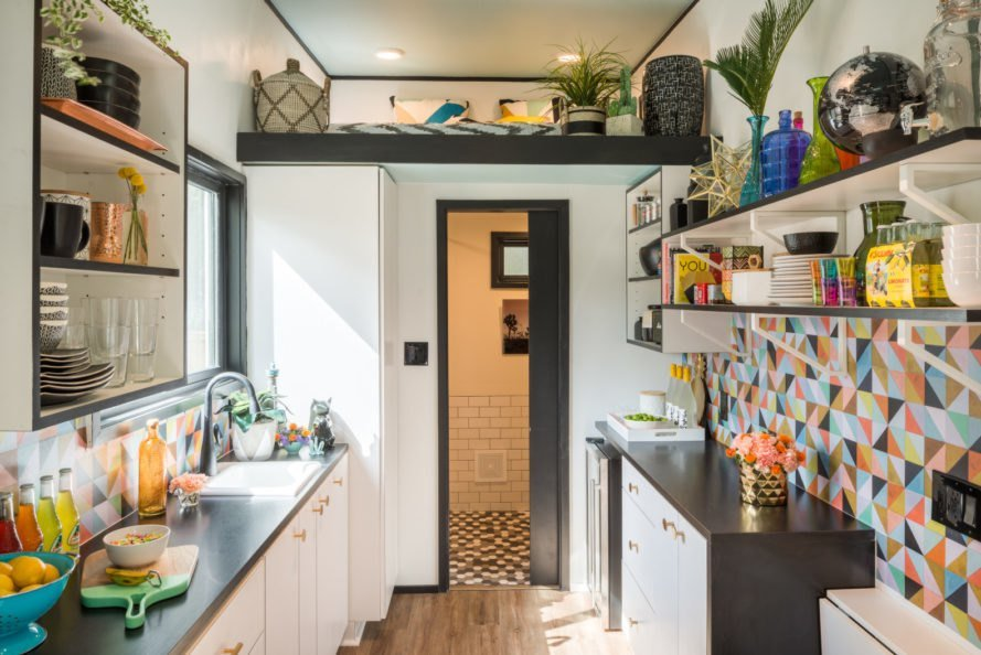 Maximalist design in tiny house kitchen