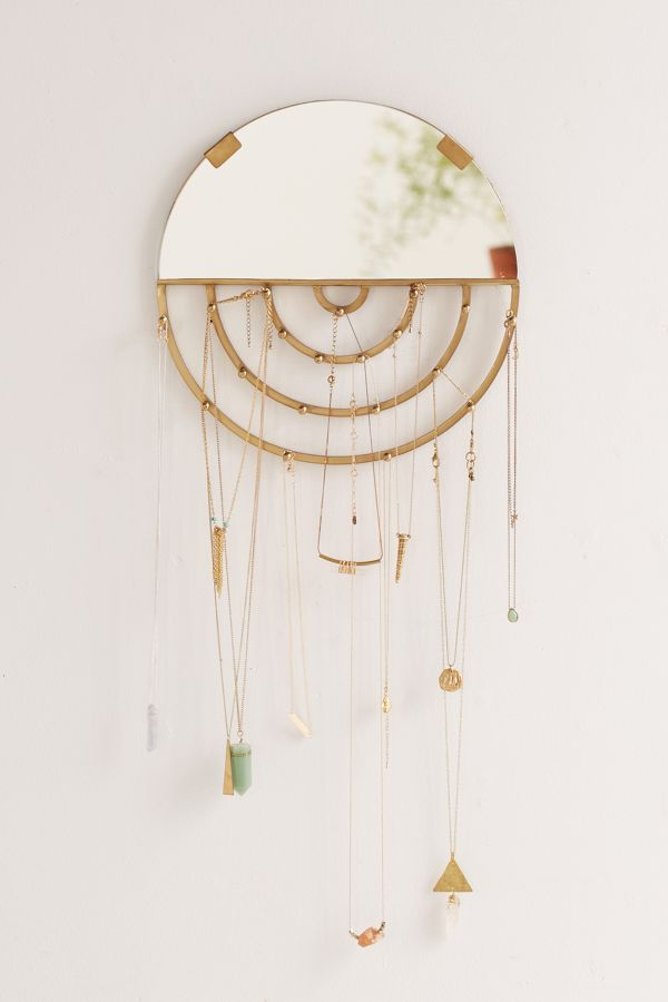 Jewelry Storage Hanging Mirror with hooks
