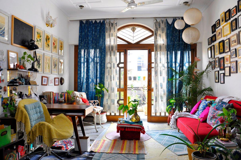 Maximalism interior design in small living room
