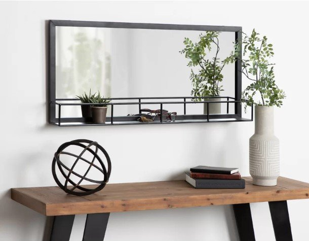 Novotny Rustic-Modern Farmhouse Metal Frame Accent Mirror with shelf