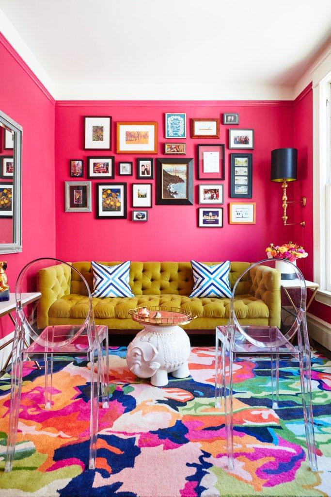 fuchia pink maximlalist small living room