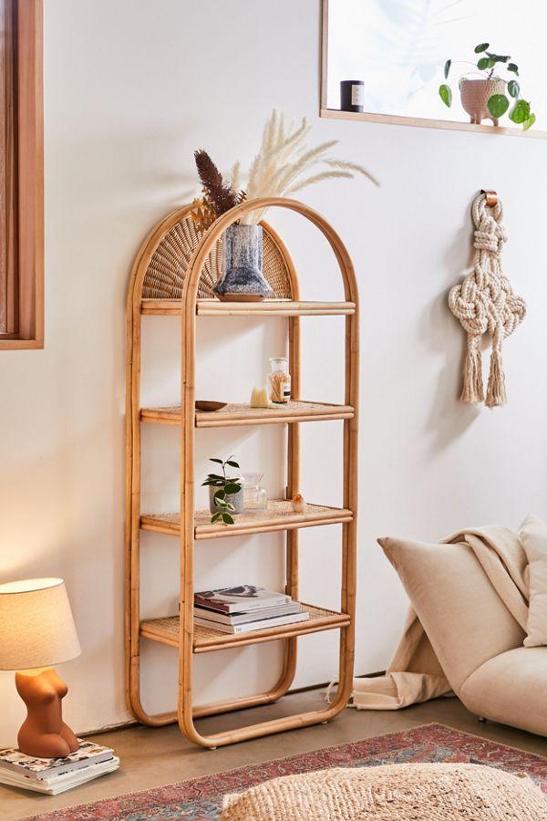Arched Rattan Bookshelf