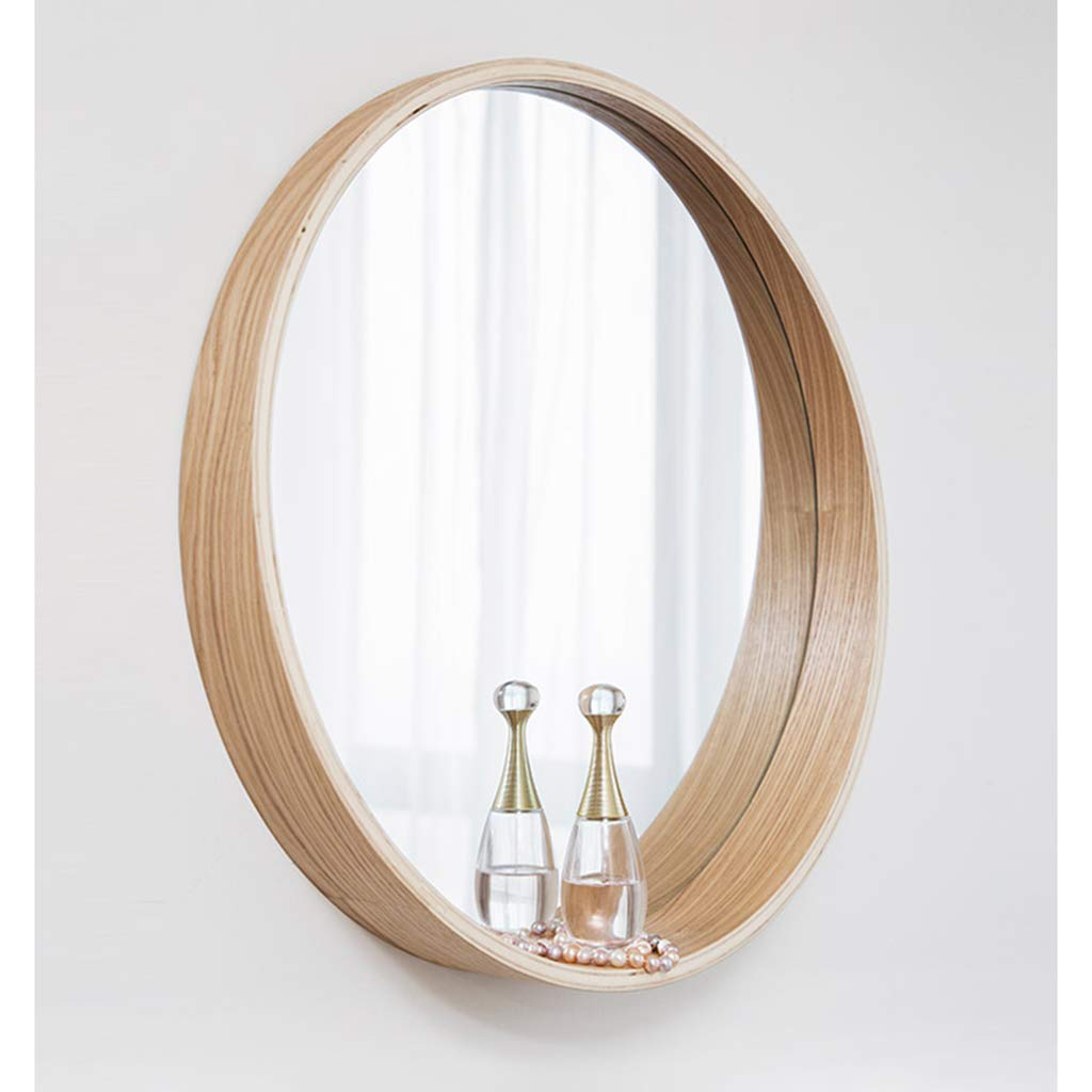 Round Simple Decorative Mirror - Wooden Border Wall Mirror