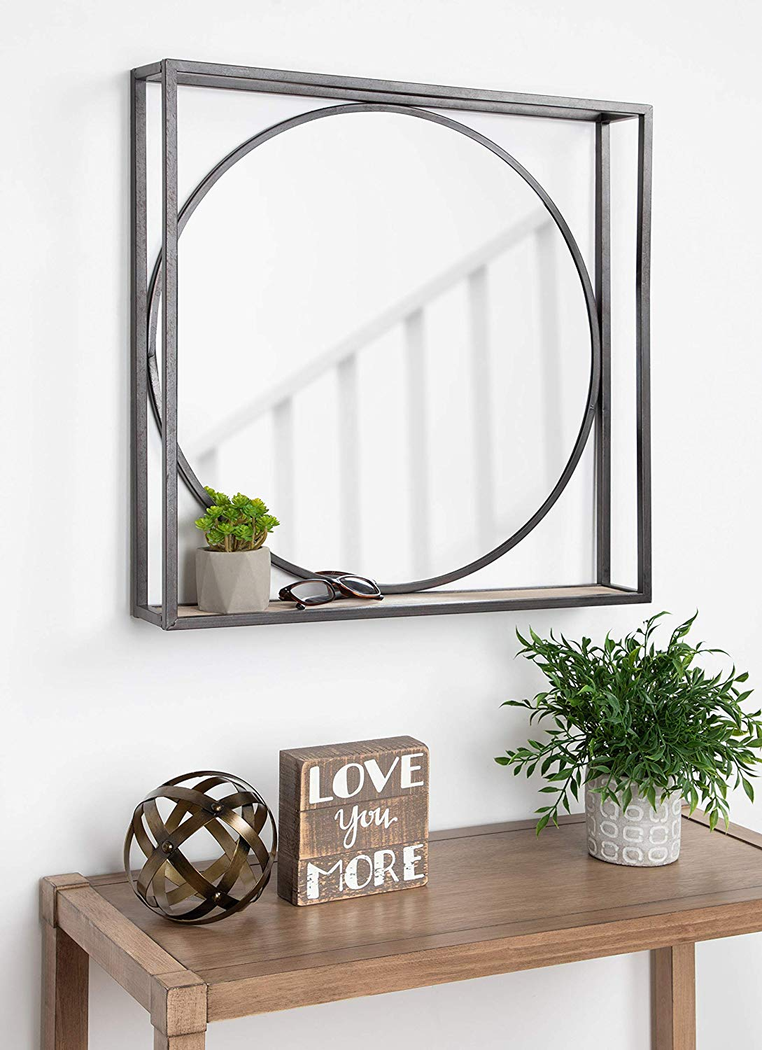 Rustic Iron Round Mirror With shelf