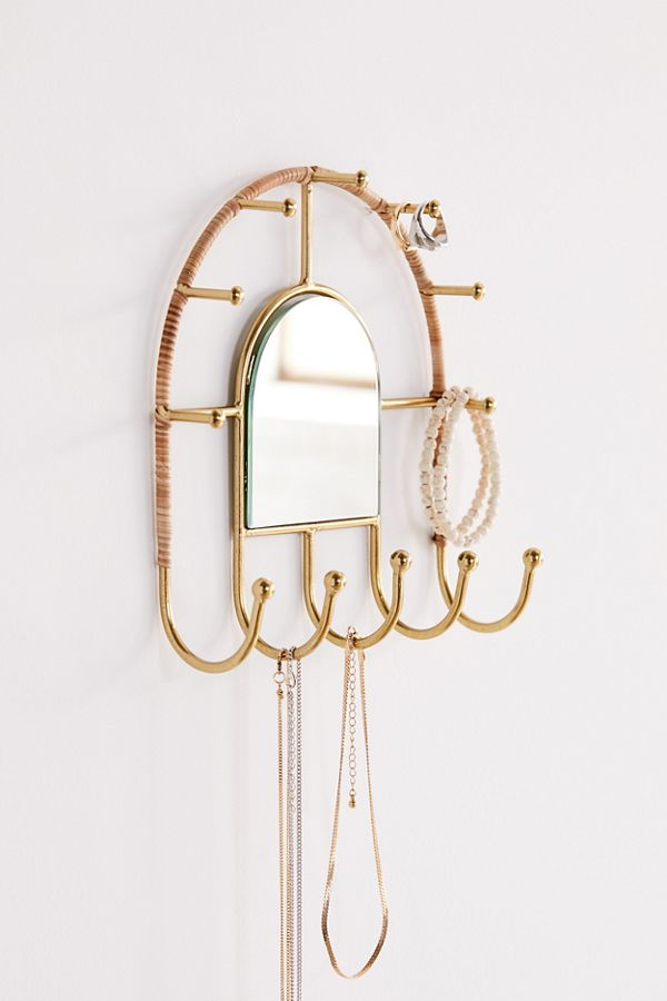 Rattan mirror urban outfitters with hooks for hanging jewelry