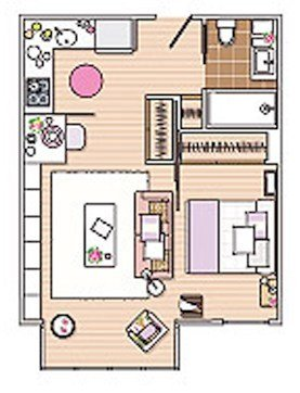 studio apartment floor plan layout