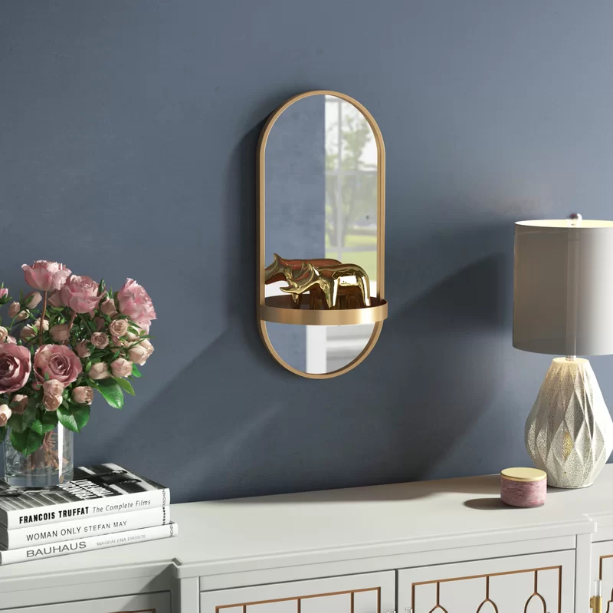 Ryland Metal Accent Mirror with Shelf