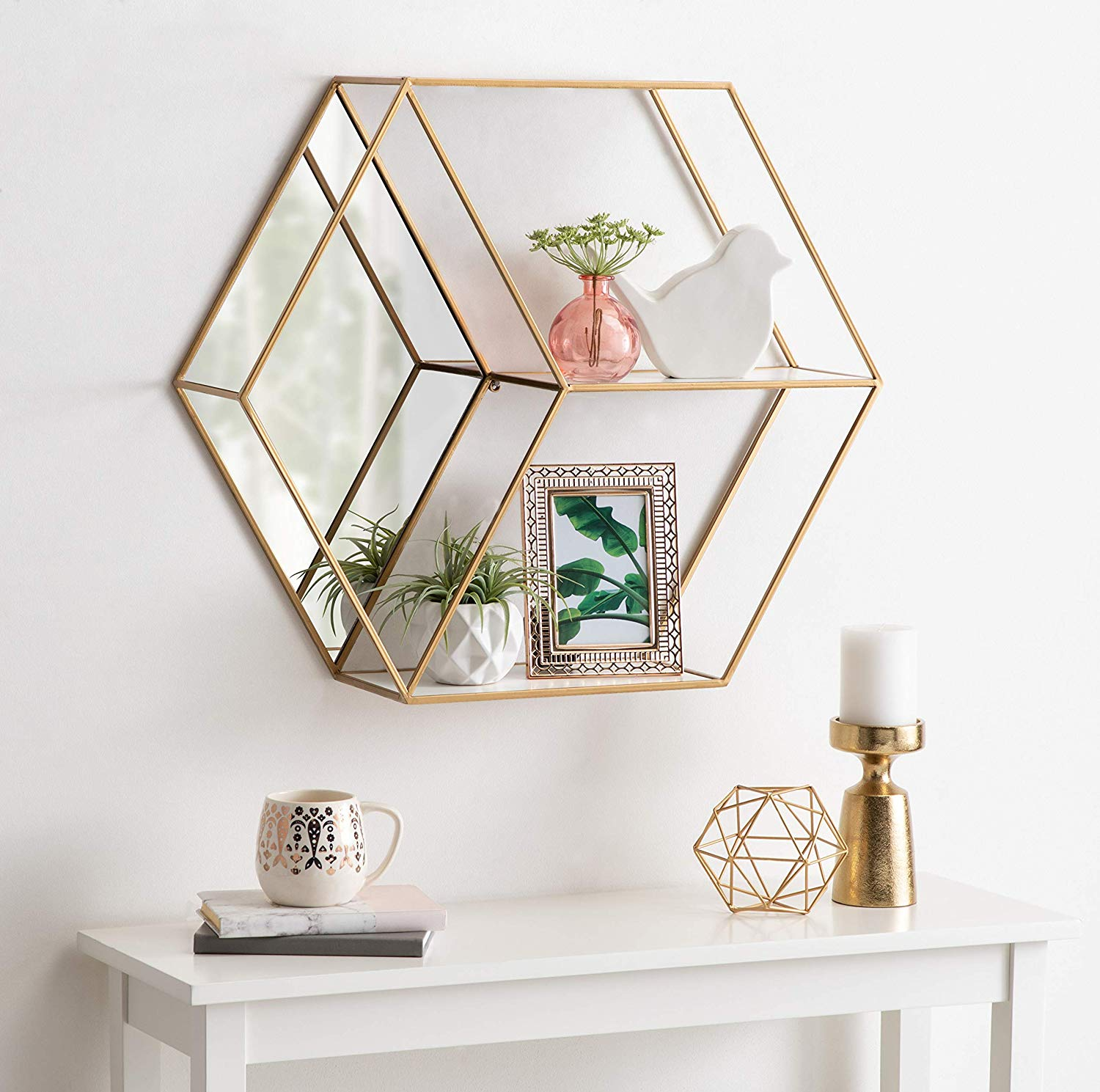 Modern Hexagon Wall Mirror with Shelves with Mirror