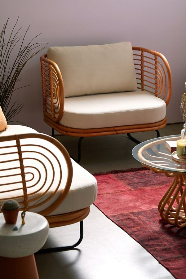 modern rattan accent chair for living room
