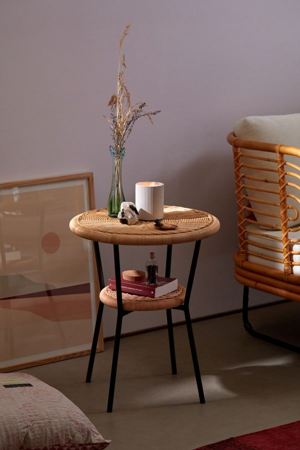 modern round rattan end table with storage
