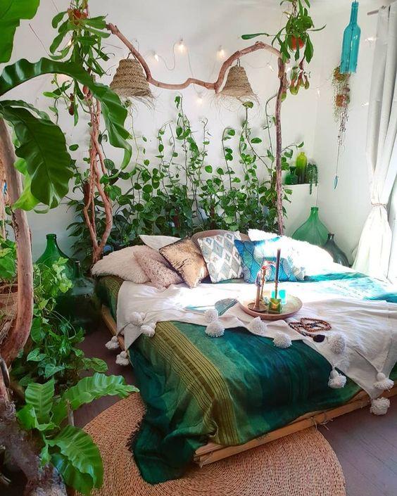 plant maximalist design in small bedroom