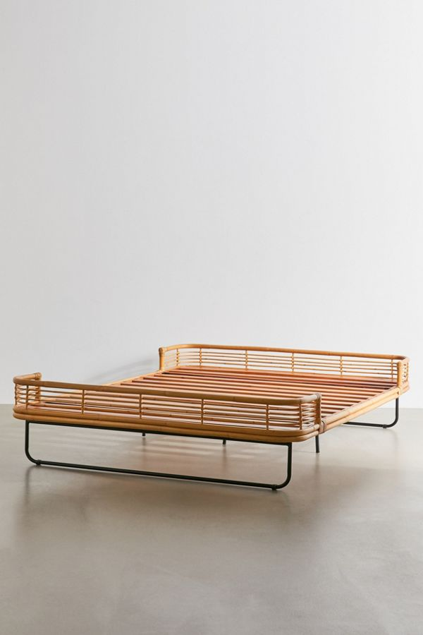 boho rattan bed frame from urban outfitters