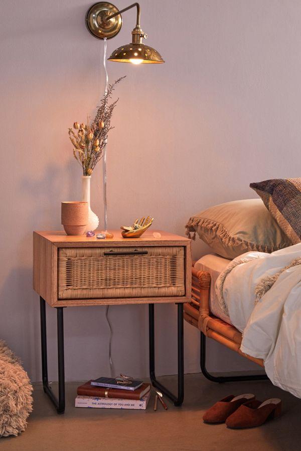 Rattan nightstand bedroom furniture