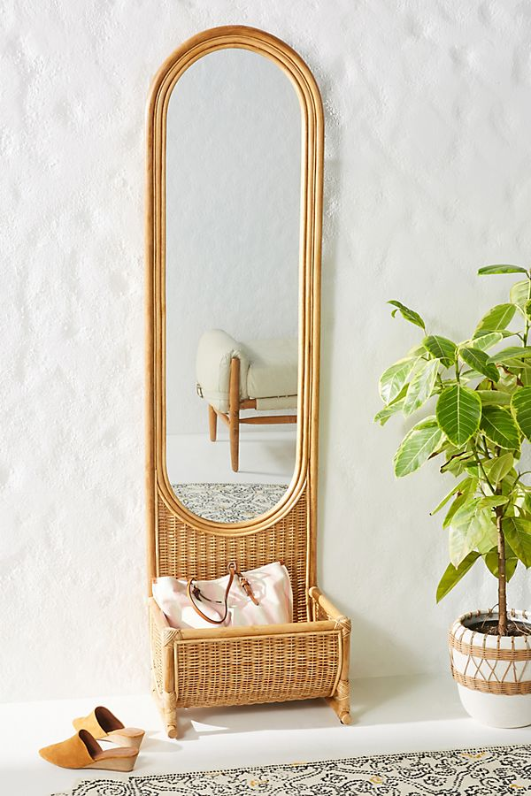 Boho Rattan Floor Mirror with pocket storage