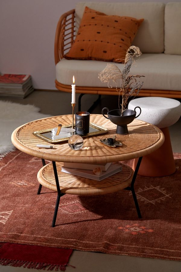 modern round indoor rattan coffee table with storage