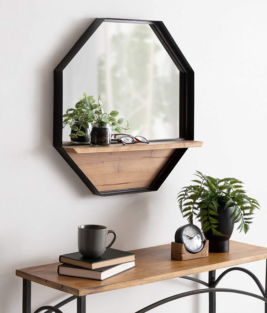 rustic-farmhouse octagon wall mirror with wood shelf