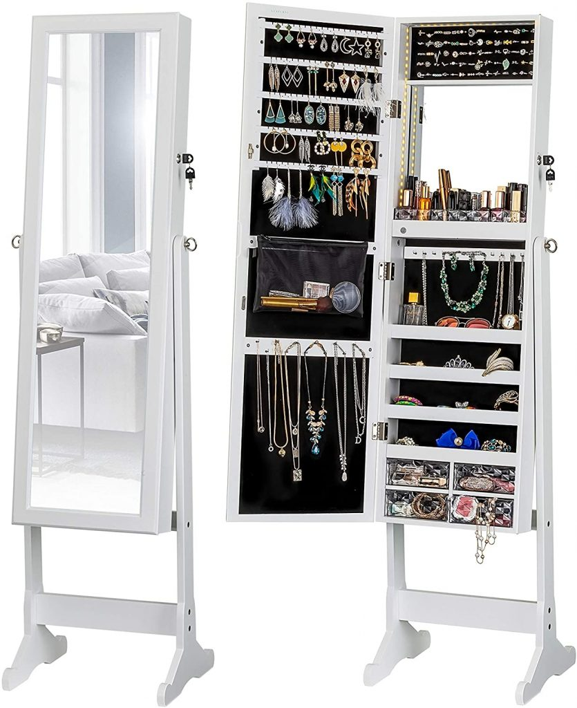 Light Jewelry Cabinet Standing Mirror