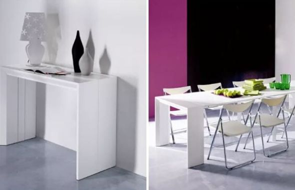 transforming console to dining table