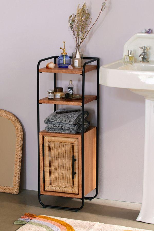 modern wood and rattan bathroom storage