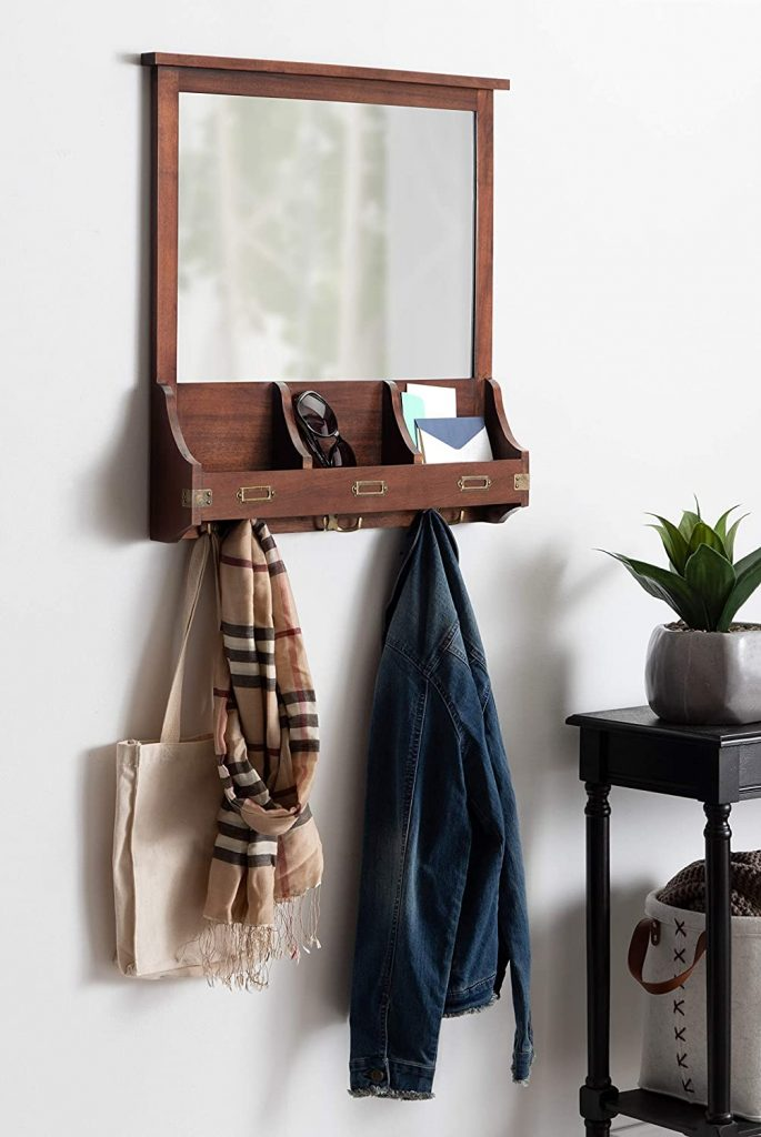 Wood Home Wall Organizer Mirror with Pockets and Key Hooks