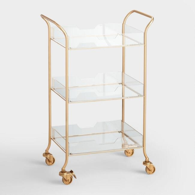 Gold Metal And Acrylic Rolling Cart storage for small spaces