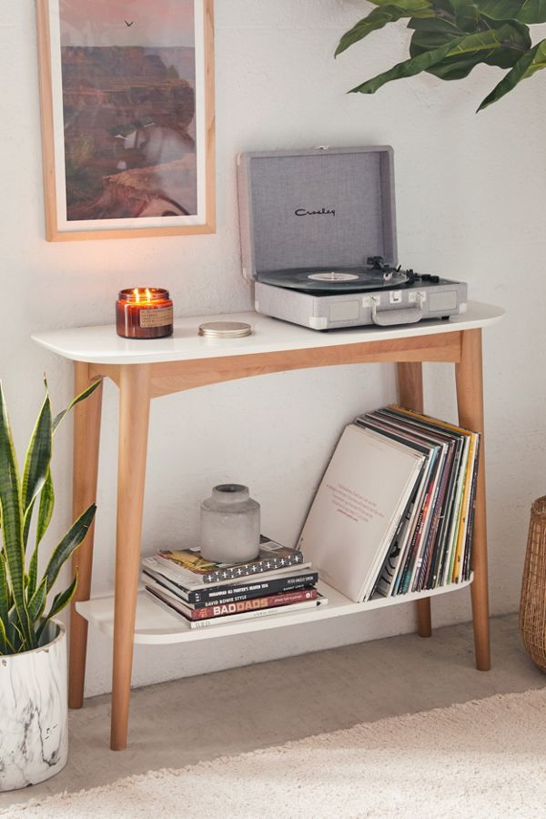 minimalist scandinavian wood and white console table for small spaces