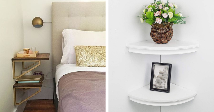 decorating small bedrooms using floating shelves to save space