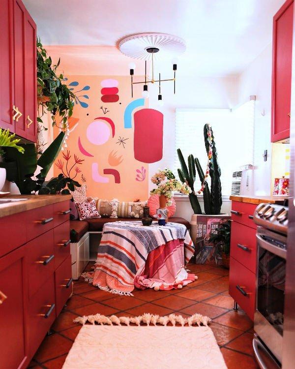 jestcafe red maximalism kitchen