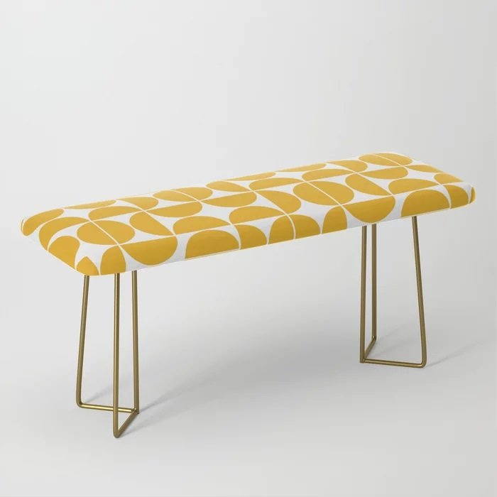 yellow and white geometric bench for small spaces from society 6.