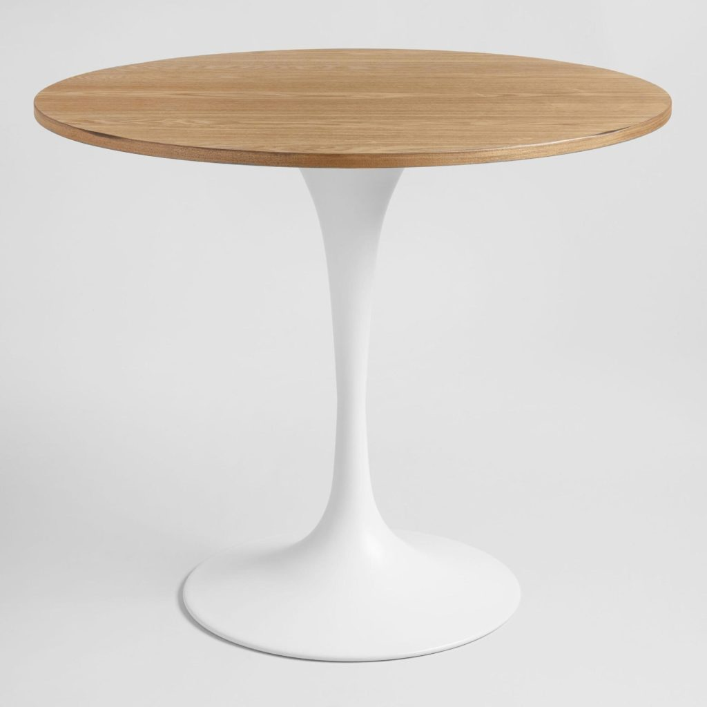 Wood And White Metal Round  Dining Table for small spaces