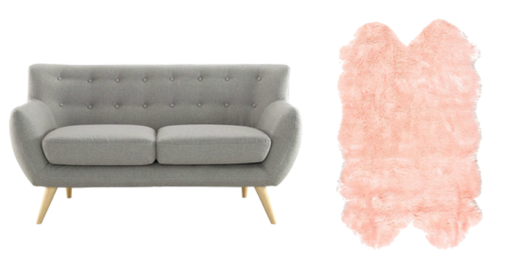 grey sofa and blush pink faux fur rug