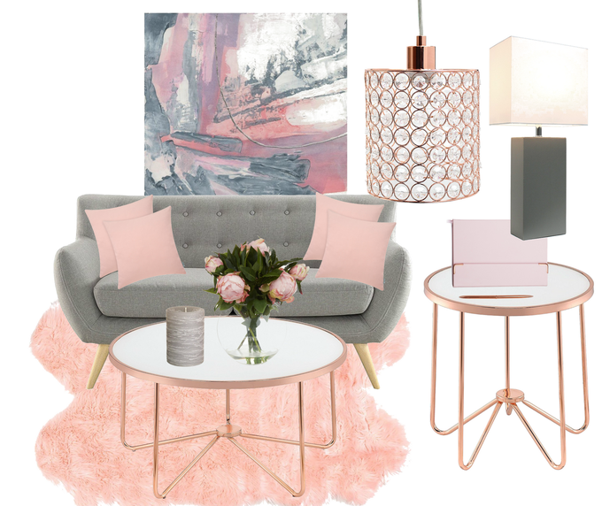 Grey sofa with blush pink and rose gold decor accessories