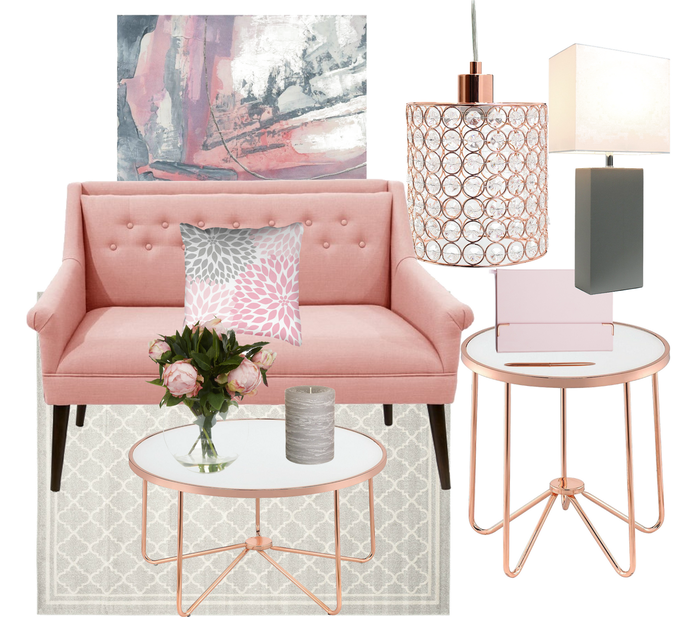 Blush pink, grey and rose gold living room decor