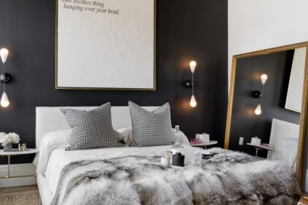 dark accent wall in small bedroom