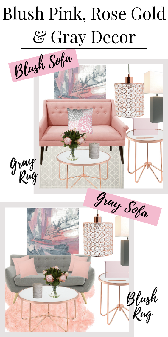blush pink, grey and rose gold living room decor mood board Pinterest