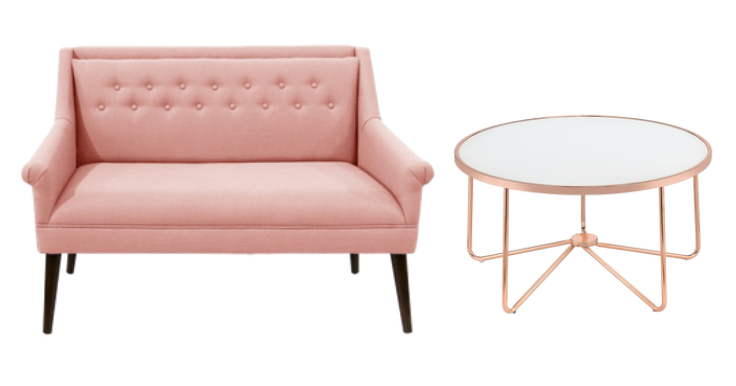 blush pink settee and rose gold coffee table