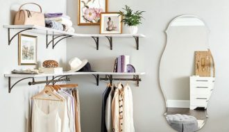 makeshift corner closet wall for small bedroom