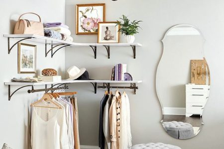 makeshift corner closet wall for small bedroom