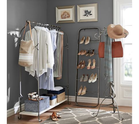 simple makeshift closet for small bedrooms